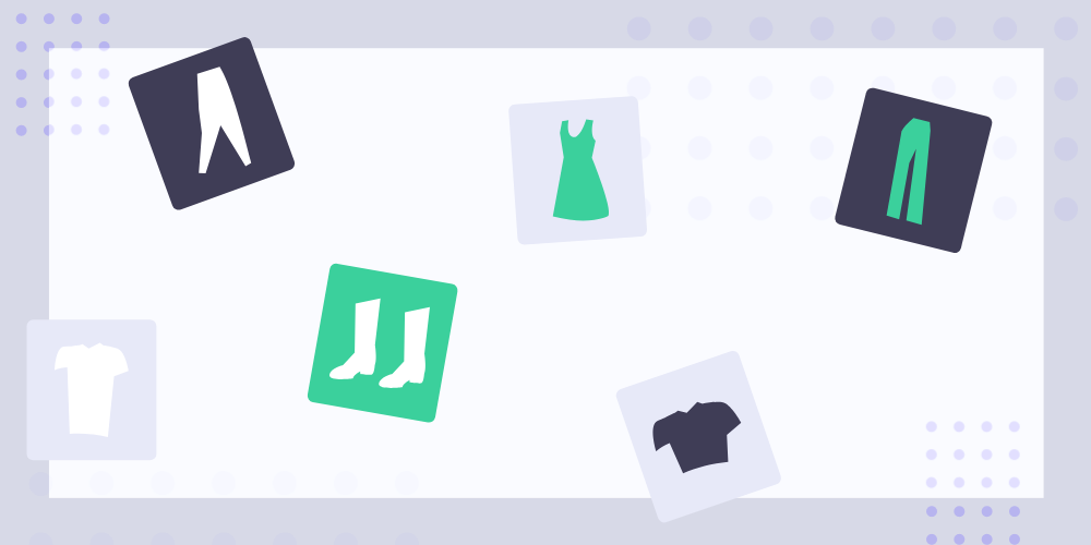 Clothing icons are unsorted and arbitrarily placed in an illustration.