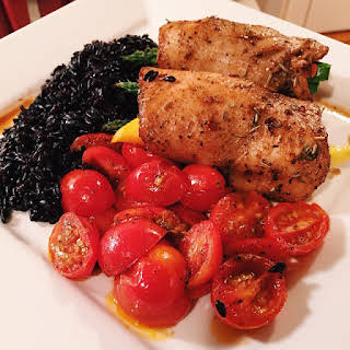Tropical Baked Chicken With Black Rice and Tomatoes.
