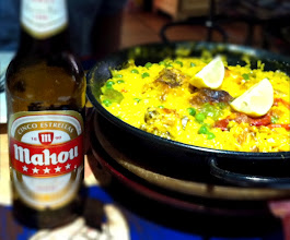 Photo: First meal in Spain.  Paella Valencia and Mahou beer (Spanish beer).  Madrid.