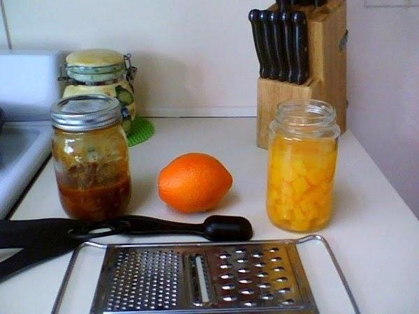 Add Orange Pulp, Orange Zest, & Mango Pulp to the BBQ Sauce and let...
