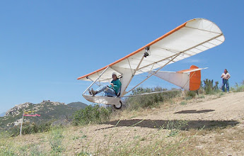 "Photo: This is Floyd Fronius performing a rolling launch in the Goat1 at Horse Canyon in June of 2004. I asked Floyd to ""float it off"" for the picture, and here's the result. In August, 2005, Floyd flew from here on a cross country flight of more than 60 miles, reaching altitudes above 13,000 feet ."
