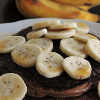 Thai Banana Chocolate Peanut Butter Protein Banana Pancakes.