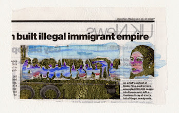 Photo: Built Illegal Immigrant Empire. Water color and gold leaf on newspaper, (171 x 104 mm).