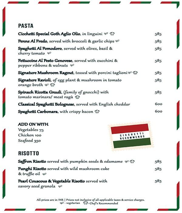 Cicchetti menu 4
