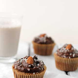 Grain-Free Almond Cupcakes with Chocolate Avocado Frosting.