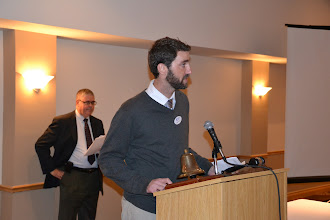 Photo: Membership Chair Adam Moons welcoming new members