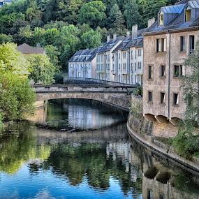 The Grund by Marco Bertamé - City,  Street & Park  Neighborhoods ( mirror, water, alzette, houses, blue, clausen, green, bridge, grund, river, city, luxembourg )