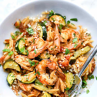 One-Pot Mexican Shrimp with Orzo and Zucchini.
