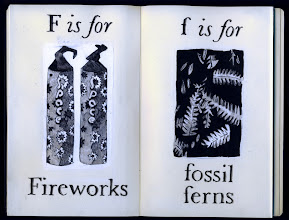Photo: Philippa Robbins - folding book primer - F is for fireworks; f is for fossil ferns