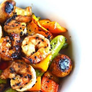 Grilled Sesame Asian Shrimp and Vegetables