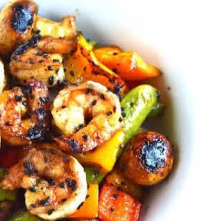 Grilled Sesame Asian Shrimp and Vegetables.