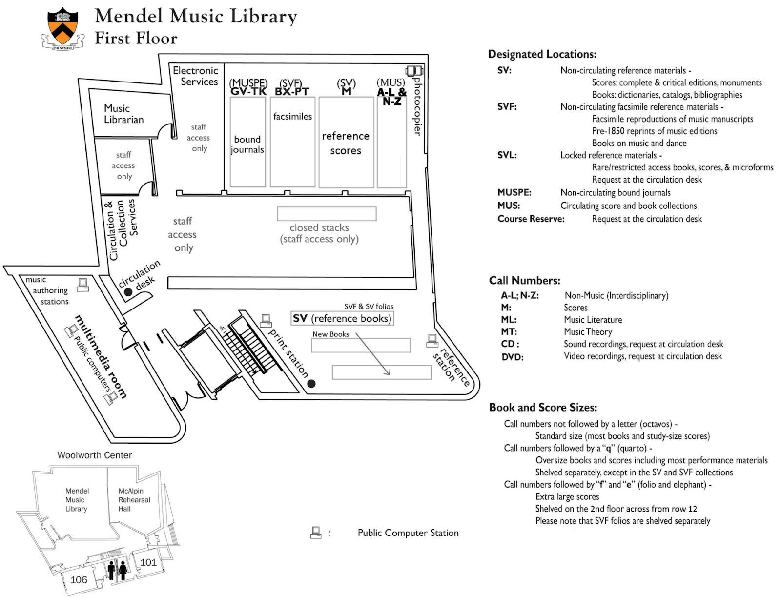 Stack map of Mendel's first floor
