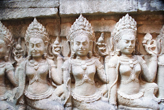Photo: one of the many, many original carvings that decorate the Angkor temple complex
