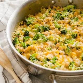 One Pot Cheesy Broccoli Chickpea Rice Casserole.