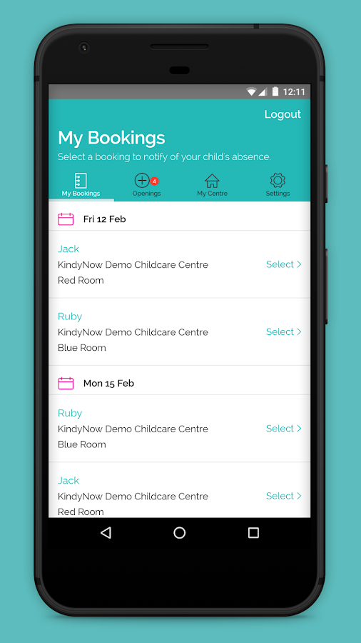 KindyNow Childcare booking App- screenshot