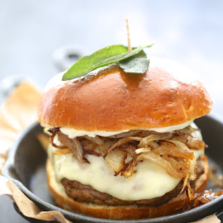 Pumpkin Swiss Burger with Fried Sage