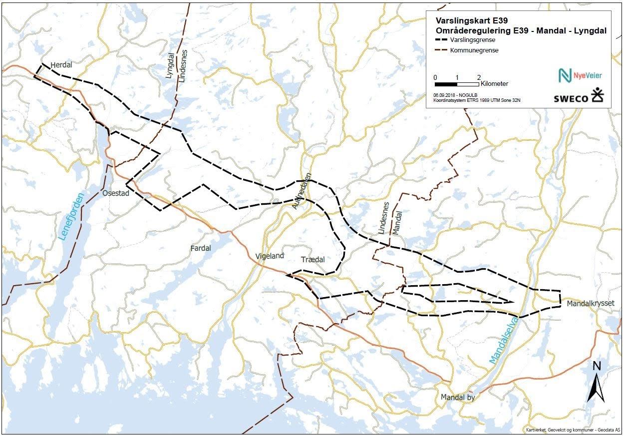 E39 - varslingskart, områderegulering