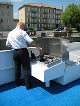 Photo: For locks, docking and low bridges the boat was controlled from these consoles, one on each side.