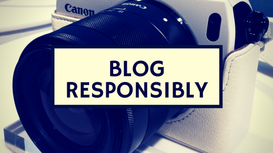 "Photo of a Canon camera with the words ""Blog Responsibly"""