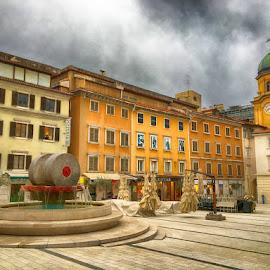 Koblerov trg, Rijeka by Goran Grudić - Instagram & Mobile iPhone ( rijeka, fountain, ivan kobler, croatia, koblerov trg, kvarner, city )