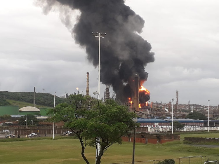 A fire at the Engen refinery south of Durban, after an explosion at about 7am.