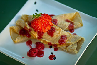 Photo: That's it for me for the night. I bid you all good night but before I do, I am leaving you with a plate of crepes. I made this for my SU's birthday brunch last Monday.  I included pureed fresh strawberries and raspberries in the batter, then filled each crepe with chopped berries. The sauce was also made from pureed berries that I reduced.  This post is for +Natty Netsuwan and +D. DeMonteverde, and their delicious #foodfriday theme.  #foodporn  #fruitsfriday with thanks to +Peter Teufl and +Vesna Krnjic