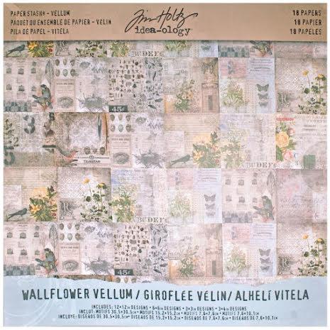 Tim Holtz Idea-Ology Vellum Paper Stash 12X12 18/Pkg - Wallflower