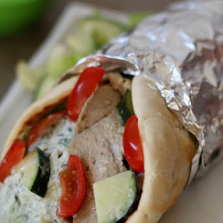 Slow Cooker Pork Gyros with Cucumber Yogurt Sauce.