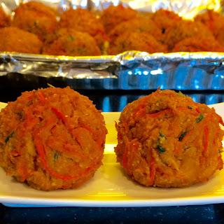 Falafel Inspired Paprika Carrot & Chickpea Baked Vegetarian Balls