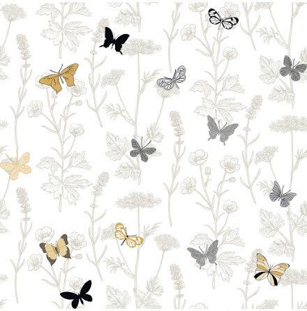 Christiana Masi Hashtag 11013 Tapet med ängsväxter och fjärilar, Beige/Grå/Vit