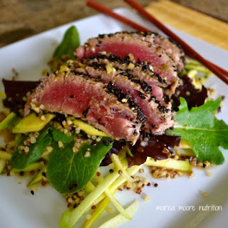 Wasabi & Sesame Seared Ahi Tuna Salad.