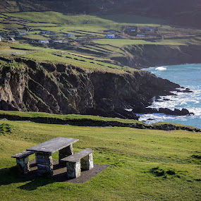 Stone Picnic Bench by Justin Hyder - Landscapes Mountains & Hills ( cliffs, forest, mountains, slieve, cliff, donegal, irish, panoramic, tourism, scenic, sea, wave, cloud, rock, tourist, mountain, view, bay, landmark, europe, waves, coastline, stone table, green, bench, nature, island, league, hiking, way, stone, coast, hill, atlantic, environment, attraction, ocean, highest, travel, wild, ireland )