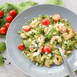 Pesto Zucchini Noodles with Shrimps and Feta.