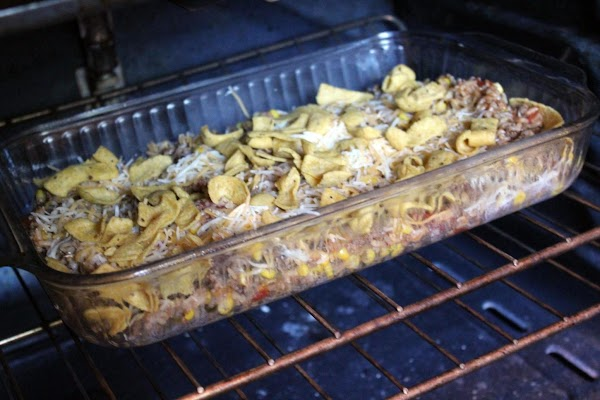 Casserole baking in the oven.