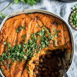 Vegan Curried Shepard's Pie with Coconut Sweet Potato Topping.