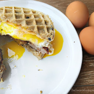 Sausage Egg and Cheese Waffle Breakfast Sandwich.