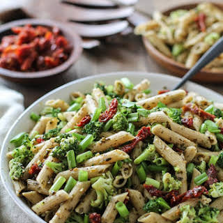Kale Pesto Pasta Salad with Sun-Dried Tomatoes and Broccoli.