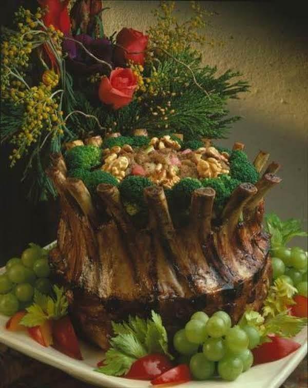 Crown Roast Of Pork With Walnut Rhubarb Stuffing Recipe