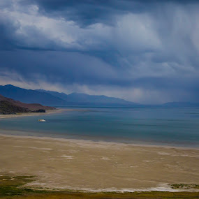Antelope island by Jason Murray - Landscapes Weather ( storm, salt, city, nature, island, clouds, water, utah, sand, waterscape, beach, weather, lake, landscape )