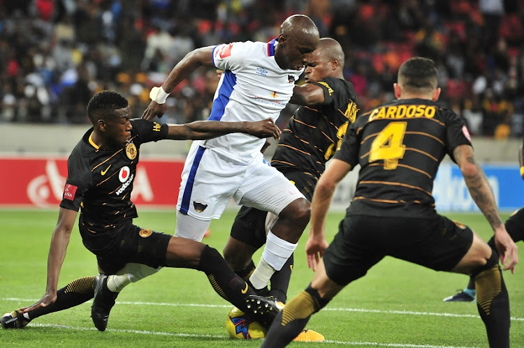 Mark Mayambela of Chippa United surrounded by Chiefs defenders during the Absa Premiership 2017/18 game between Chippa United and Kaizer Chiefs at Nelson Mandela Bay Stadium in Port Elizabeth on 6 December 2017.