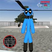 Blue DedPool Stickman Rope Hero Gangstar Crime