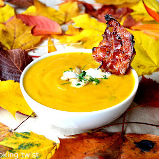 Roasted Pumpkin Soup with Maple-Candied Bacon
