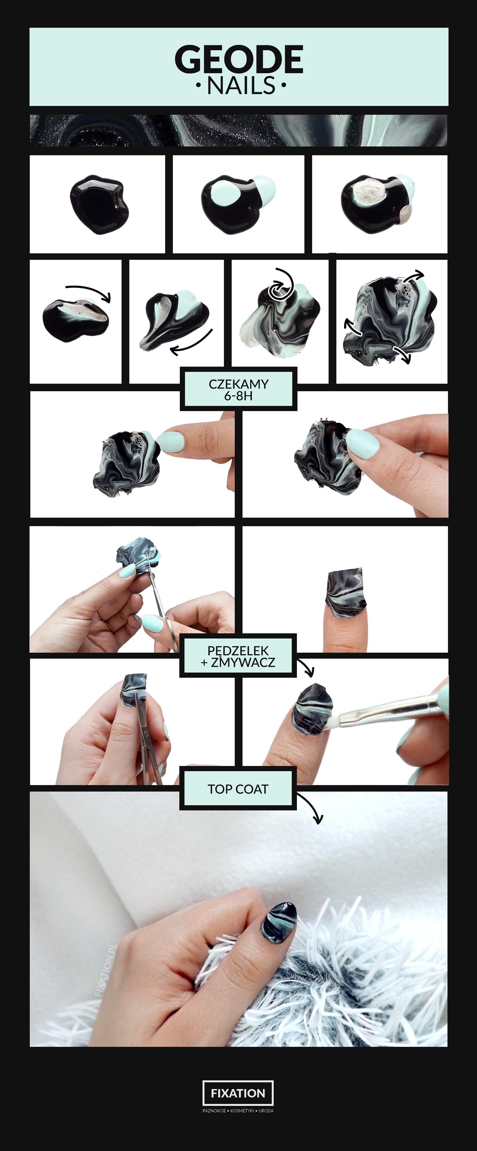 Miętowo - srebrne geode nails | Suche marble - tutorial krok po kroku