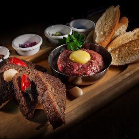 Tartar by Dmitriev Dmitry - Food & Drink Plated Food ( tasty, tartar, bread, food, meat )