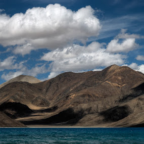 Blue Shores - Pangong Lake by Rohit Chawla - Landscapes Mountains & Hills ( changthang, nature, himalaya, lanscape, pangong lake, cosurvivor, india, ladakh, high altitude lake )