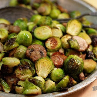 Roasted Brussels Sprouts with Mushrooms.
