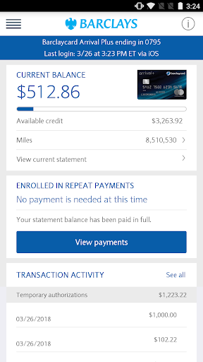 Barclays US for Android Screenshot