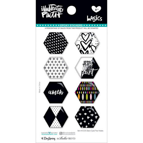Bella Blvd Illustrated Faith Hexies Epoxy Stickers - Black Eyed Pea UTGÅENDE