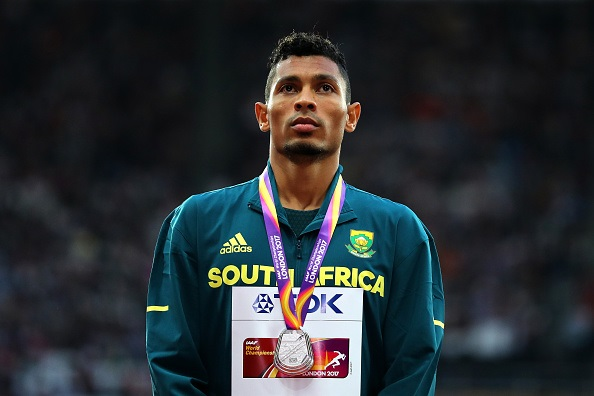 Wayde van Niekerk poses with his medal for the Men's 200 metres during day eight of the 16th IAAF World Athletics Championships London 2017 .