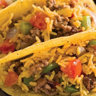 Mexican Rice & Beef Tacos.